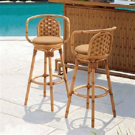 Outdoor Swivel Tiki Bar Stools by Outdoor Swivel Tiki Barstool Set Of 2 Barstools Bar Stools