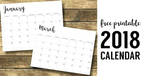 make photo calendar free 2018 2018 calendar printable free template paper trail design
