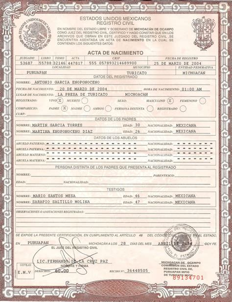 This Is Mexican Birth Certificate Psd Photoshop Template On This Psd Template You Can Put Any Mexican Certificate Template