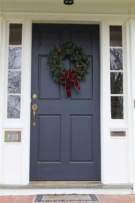 exterior front door wreath ideas adhered on grey