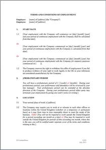template of contract of employment contract of employment free printable documents