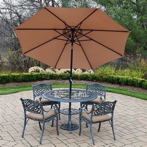 Cast Aluminum Patio Table And Chairs Oakland Living Mississippi 7pc Cast Aluminum Patio Set With 48 Quot Table 4 Cushioned Arm