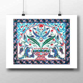 turkish tile blue tulip watercolor from hermesarts on etsy
