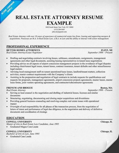 Attorney Resume by Real Estate Attorney Resume Exle Resume Sles