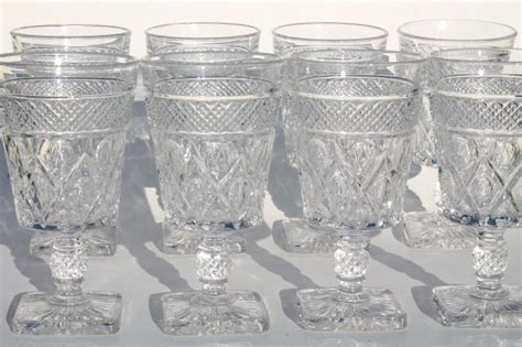 Cottage Garden China - imperial cape cod crystal clear vintage water goblets wine glasses set of 8