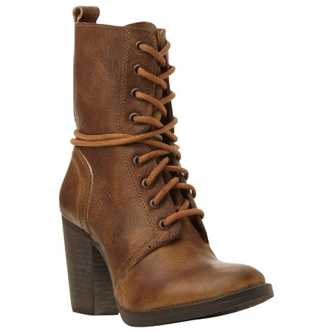 steve madden brown jupiter block heeled lace up ankle