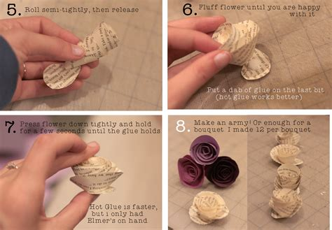 How To Make Paper Flowers Out Of Book Pages - rolled paper flower tutorial using book pages a