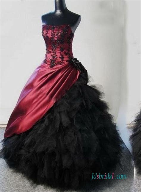 gothic burgundy  black ball gown wedding dress