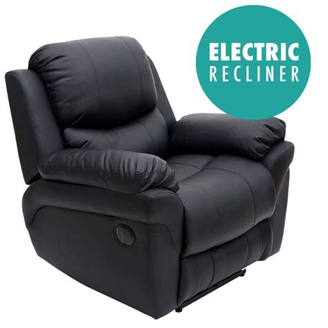 Electric Armchairs by Electric Black Real Leather Auto Recliner Armchair