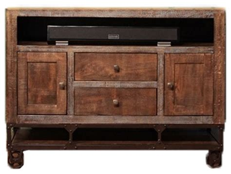 rustic gabriel tv stand with casters rustic
