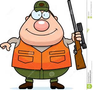Cartoon illustration of a hunter holding a rifle and smiling