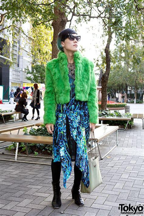 striking tokyo guy green faux fur dog prada