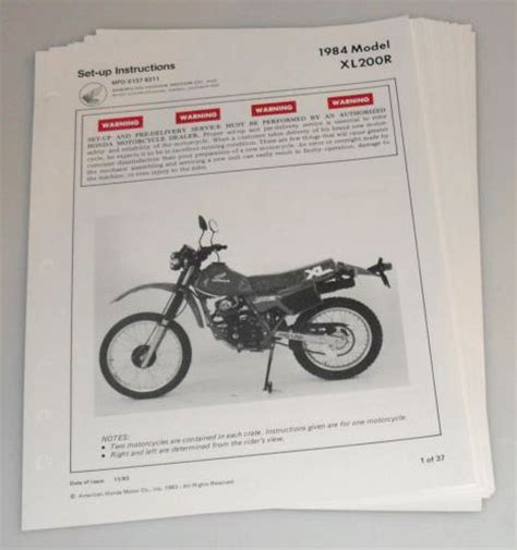 free download parts manuals 1984 honda prelude security system 1984 honda xl200r oem set up instructions setup delivery directions