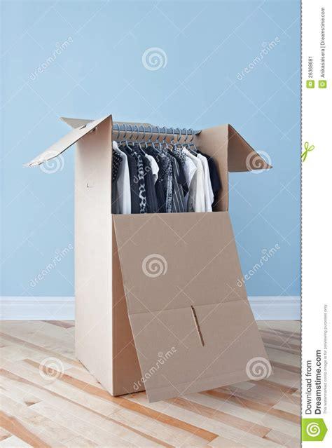 clothing wardrobe box wardrobe box with clothing ready for moving stock image