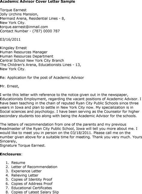 Cover Letter For Academic Advisor – Sample Academic Advisor Cover Letter   9  Free Documents