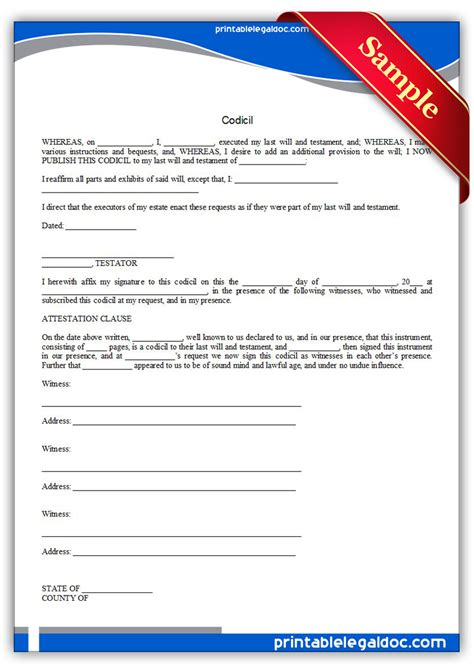 free codicil template pin form free will on