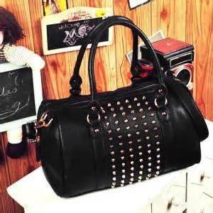 Bag Pu Leather With Studs 2 Colors black studded shoulder bag handbag stud pu leather