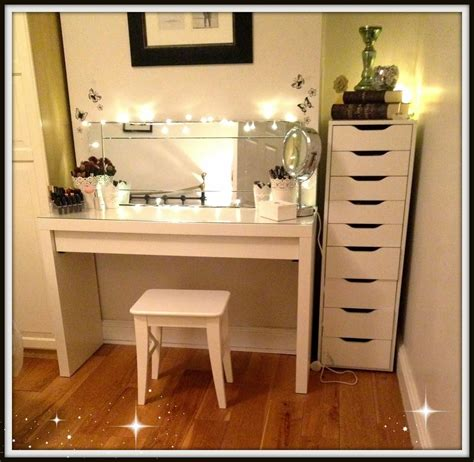 white desk with mirror and lights makeup vanity with lighted mirror decofurnish