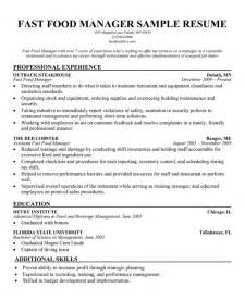 Resume Exles Fast Food by Fast Food Resume Sles Free Resumes Tips