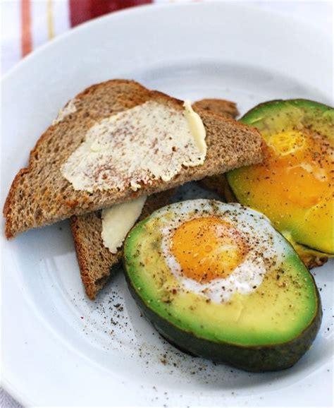 breakfast fun baked eggs in avocados