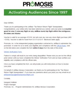 Jet Blue Sweepstakes - i won a jetblue tax return return flight accounting your points