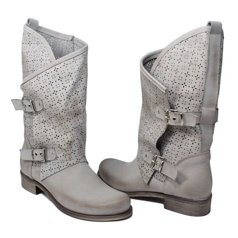 grey biker boots summer biker boots perforated in genuine gray leather made