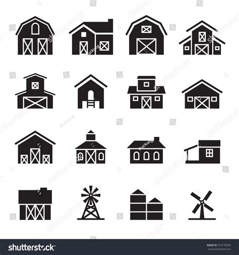 Word For Barn Barn Farm Building Icon Set Stock Vector Illustration