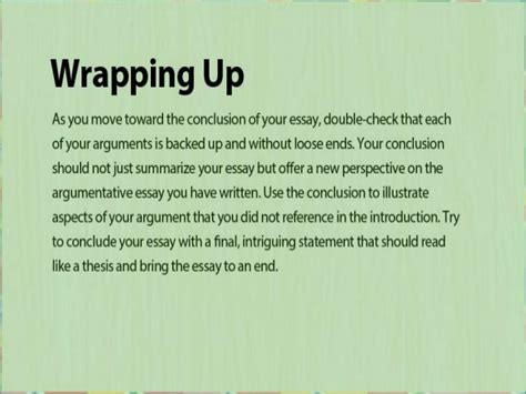 Wrapping Up An Essay by Argumentative Essay Help