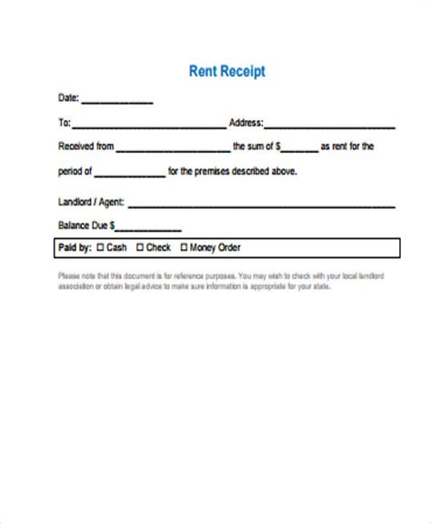 7 rent receipt sles forklift resume rent receipt form