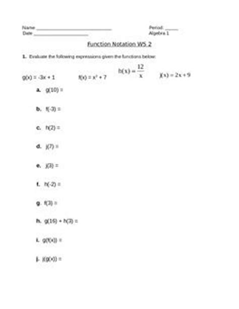 Function Notation Worksheet by The World S Catalog Of Ideas