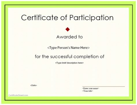 template for certificate of participation special certificates award certificate of participation