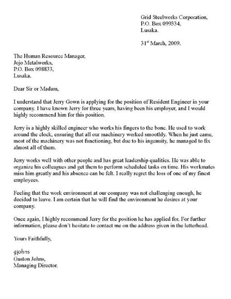 reference letter of recommendation sle writing a letter of recommendation