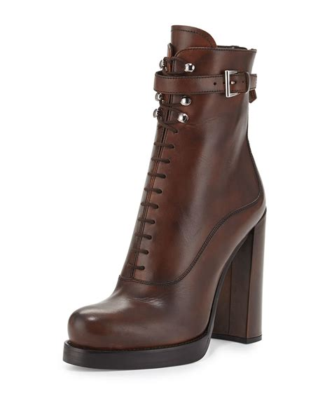 prada boots lyst prada lace up leather ankle boots in brown