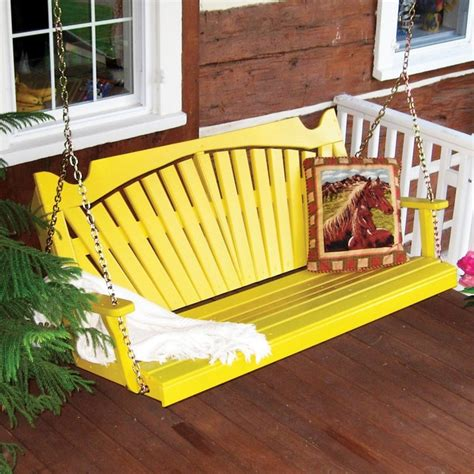 Yellow Porch Swing a l furniture yellow pine fan back style porch swing 382 wp white contemporary patio