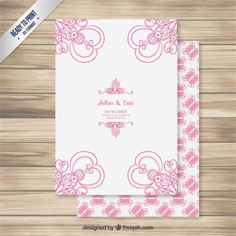 Wedding Card Ornaments by Wedding Card With Pink Ornaments Vector Premium