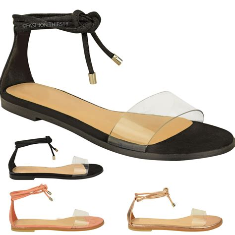 tie up sandals new womens flat ankle tie up sandals summer perspex