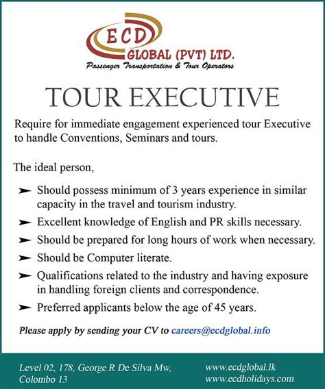 What Is The Minimum Experience Required For Executive Mba by Tour Executive Vacancy In Sri Lanka