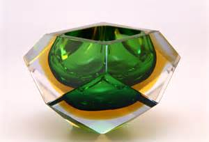 Murano Vase Murano Sommerso Green Blue And Amber Faceted Glass Bowl