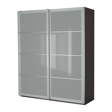 Frosted Glass Wardrobe by Pax Wardrobe Black Brown Sekken Frosted Glass 200x66x236