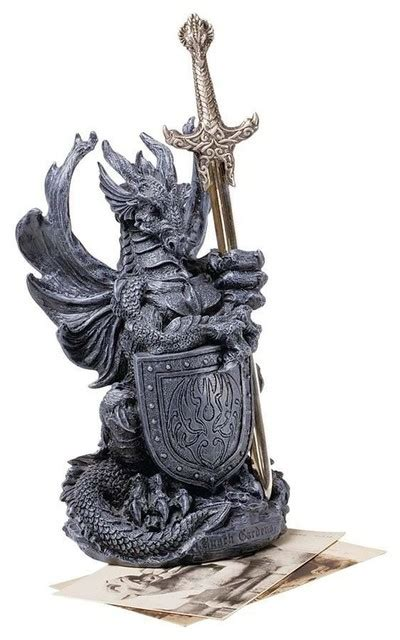 decorative sculptures for the home desktop medieval gothic dragon statue sculpture with sword