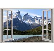Huge 3D Window Exotic Mountain View Wall Stickers Film Mural Art Decal