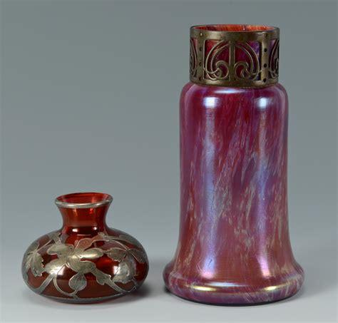 silver vase inc lot 165 silver overlay vase loetz vase