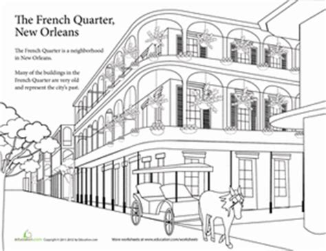 french quarter coloring page worksheets education com