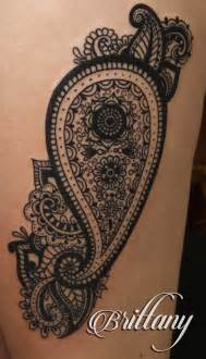 paisley tattoos paisley thigh blackwork black