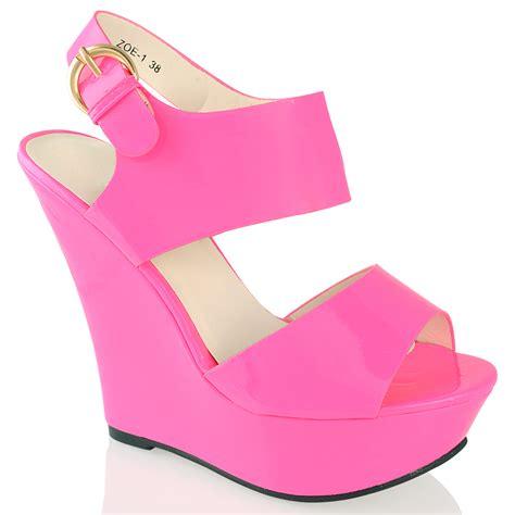 womens platform high wedge heel neon patent