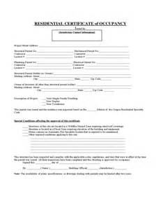 letter of occupancy template certificate of occupancy residential form and format