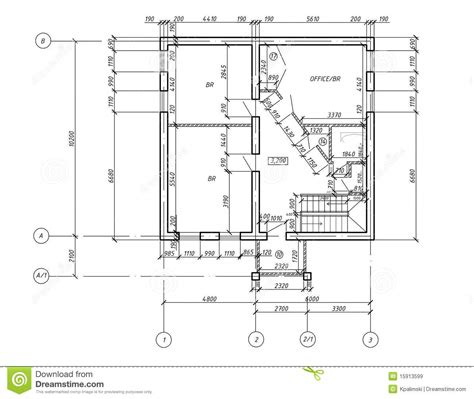draw blueprints cad plan drawing blueprint stock illustration image of