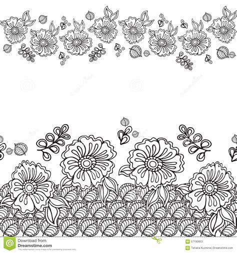 doodle flower border doodle frame with flower in doodle vector