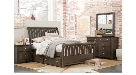 santa cruz bedroom furniture santa cruz gray 5 pc full sleigh bedroom