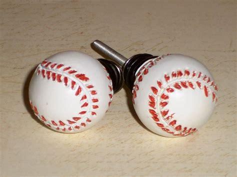 Sports Drawer Knobs by Baseball Sport Boys White Resin Drawer Knob Pulls Set Of 2